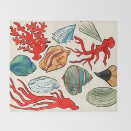 Sea Life Watercolor Throw Blanket