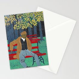 African American Masterpiece 'Man on a Bench' by Horace Pippin Stationery Cards