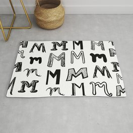 Letter M Black and White Doodles Rug