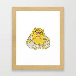 Laughing Bulldog Buddha Sitting Cartoon Framed Art Print