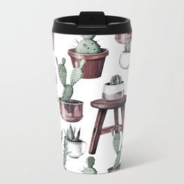 Happy Potted Cacti in Rose Gold Pots Metal Travel Mug