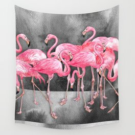 Flamingo Collage in Watercolor and Ink Wall Tapestry