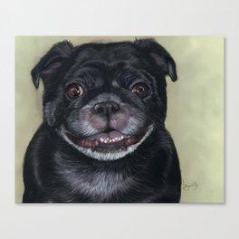 Black Pug Painting Portrait Canvas Print