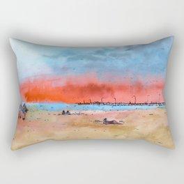 Watercolour beach scene Rectangular Pillow