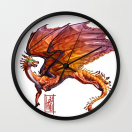 Rose Coral Dragon Wall Clock