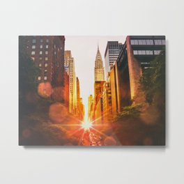 NYC Skyline Sunset Metal Print