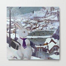 Rabbit in the Snow Composite - Pieter Bruegel the Elder Metal Print
