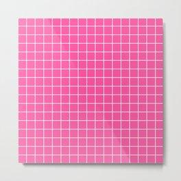 Brilliant rose - pink color - White Lines Grid Pattern Metal Print