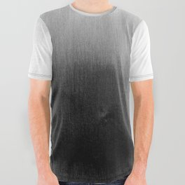 Modern Black and White Watercolor Gradient All Over Graphic Tee