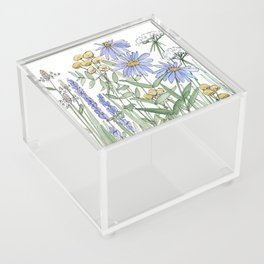 Asters and Wild Flowers Botanical Nature Floral Acrylic Box