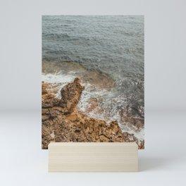 Rock and Sea | Waves crashing on rock beach | Beautiful ocean view beach rocks waves art print sea Mini Art Print