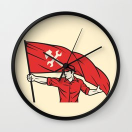 worker holding a flag - industry poster (design for labor day) Wall Clock