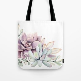 Desert Succulents on White Tote Bag