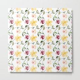 Watecolor Floral Repeat Pattern 1 Metal Print