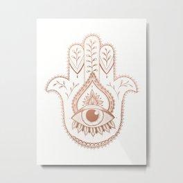 Hamsa Hand - Rosé Gold Metal Print