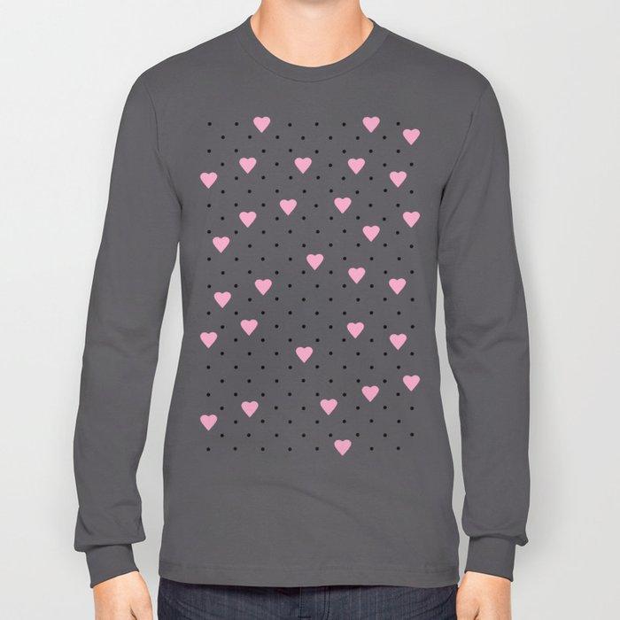 Pin Point Hearts Pink Long Sleeve T-shirt