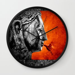 BUDDHA KISS - frame orange black version Wall Clock