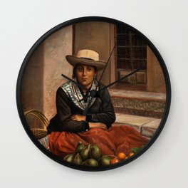 Vintage Peruvian Oil Painting of Lima Woman with Fruit, 1892 Wall Clock