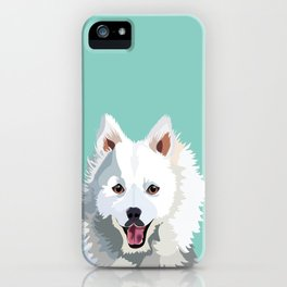 Japanese Spitz pet portrait wall art and gifts for dog breed lovers iPhone Case