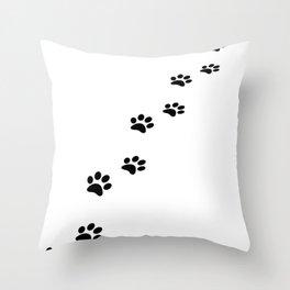 Black cat paw prints on white Throw Pillow