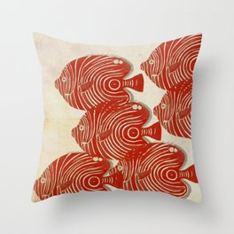 Shoal of Red Fish Throw Pillow