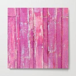 Tropical Summer Rustic Shabby Chic Woodgrain Cute Girly Fuchsia Pink Metal Print