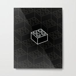 2x2 Legoblock Black pattern Metal Print