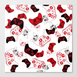 Video Game White and Red Canvas Print