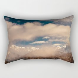 Mangart capped by the fog in a winter day Rectangular Pillow