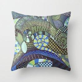 "Moo's Mom's Abstract art ""Blue Zen"" Throw Pillow"