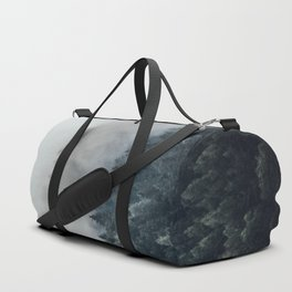 Misty Foggy Minimalist Landscape Photography Pine Forest Duffle Bag