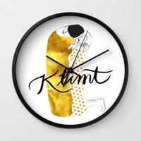 klimt Wall Clocks featuring Klimt golden by Henrique Nobrega