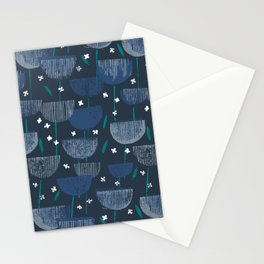 Botanical Block Print M+M Navy by Friztin Stationery Cards
