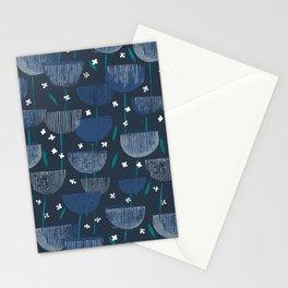 Botanical Block Print M+M Navy by Friztin Stationery Cards