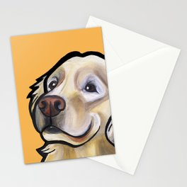 George the golden retriever (orange) Stationery Cards