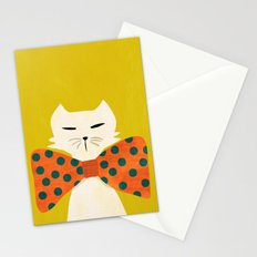 Cat with incredebly oversized humongous bowtie Stationery Cards