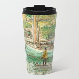 Oyster Sloop, Cos Cob 1902 by Childe Hassam Travel Mug