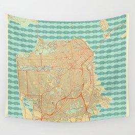 San Francisco Map Retro Wall Tapestry