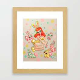 Bunny Pinup Doll with Candy Bunny Pop Framed Art Print