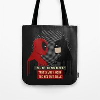 suit Tote Bags featuring Red suit by Daniac Design
