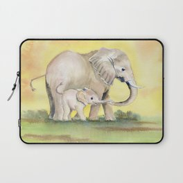 Colorful Mom and Baby Elephant 2 Laptop Sleeve
