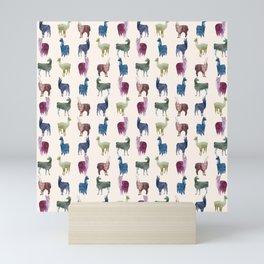 Color LLamas Pattern Mini Art Print