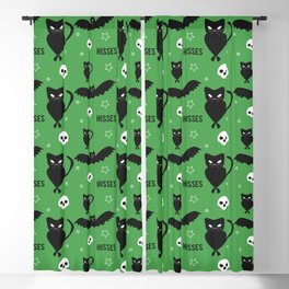 """""""Hisses"""" Cats with Bats Pattern (green) Blackout Curtain"""