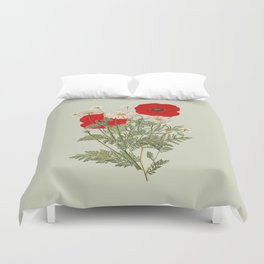 A country garden flower bouquet -poppies and daisies Duvet Cover