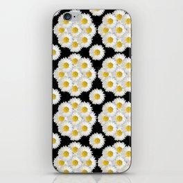 Daisies on black pattern iPhone Skin