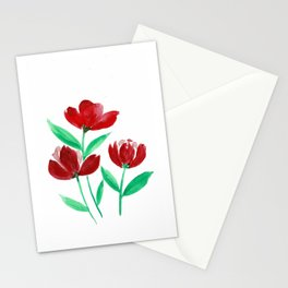 Three Red Flowers Stationery Cards