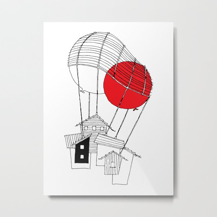 Netted Two Balloons - Minihouse Metal Print
