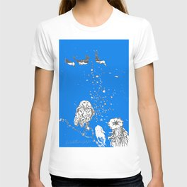 Two Tailed Duck and Jellyfish Royal Brilliant Blue T-shirt