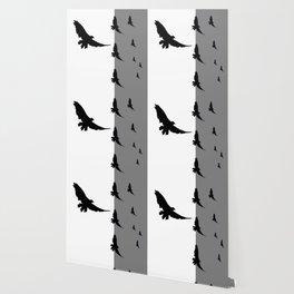 FLYING BLACK CROWS GREY-BLACK ART Wallpaper