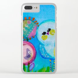 Birdy and the Dandies Mixed Media Painting Clear iPhone Case